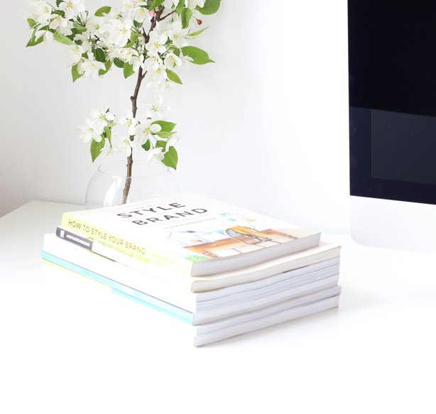 Stack of Design Books for Branding