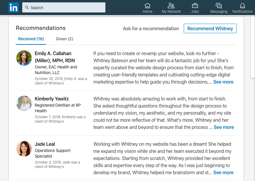 Recommendations and Client Testimonials on LinkedIn Page | Whitney Bateson Digital Strategy
