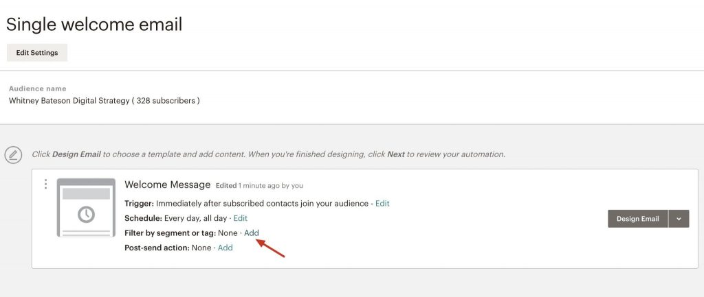 Single Welcome Email Advanced Settings Page Screenshot in Mailchimp | Whitney Bateson Digital Strategy