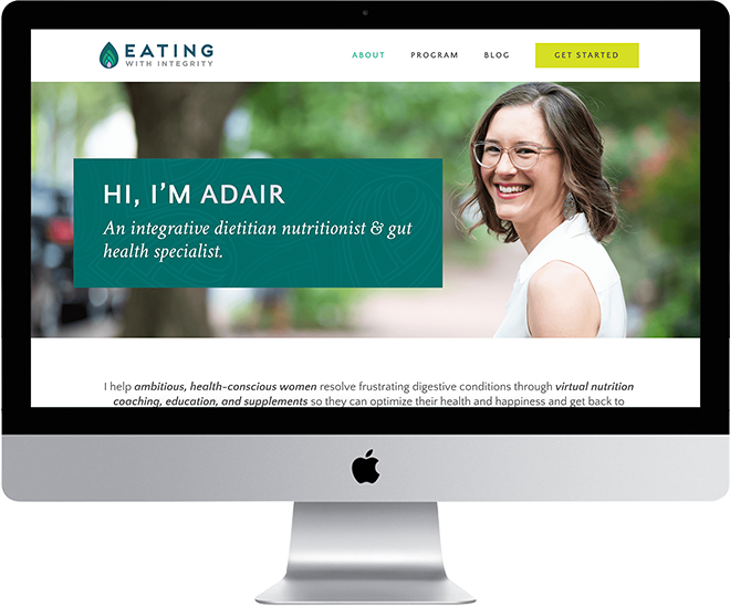Photo of client nutrition website | Dionne Garner Nutrition